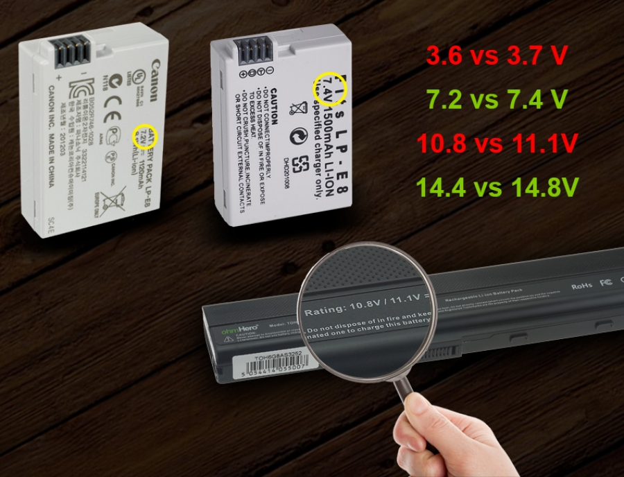 Piccole differenze di voltaggio delle batterie Ioni di Litio: 3.6V vs 3.7V - 7.4V vs 7.8V - 10.8V vs 11.1V - 14.4V vs 14.8V